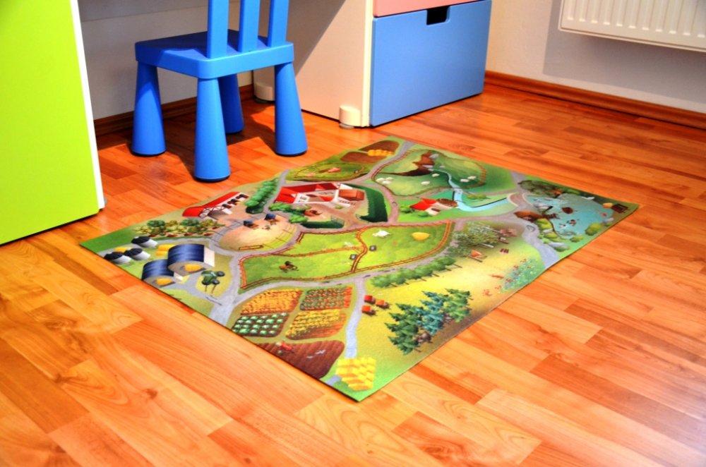 Dětská podložka oboustranná Farma - město